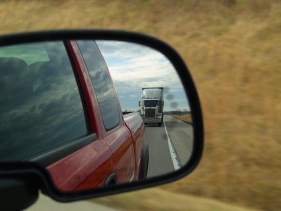 18 wheeler in mirror