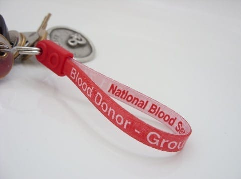 A blood donor keychain belonging to an Indianapolis blood donor