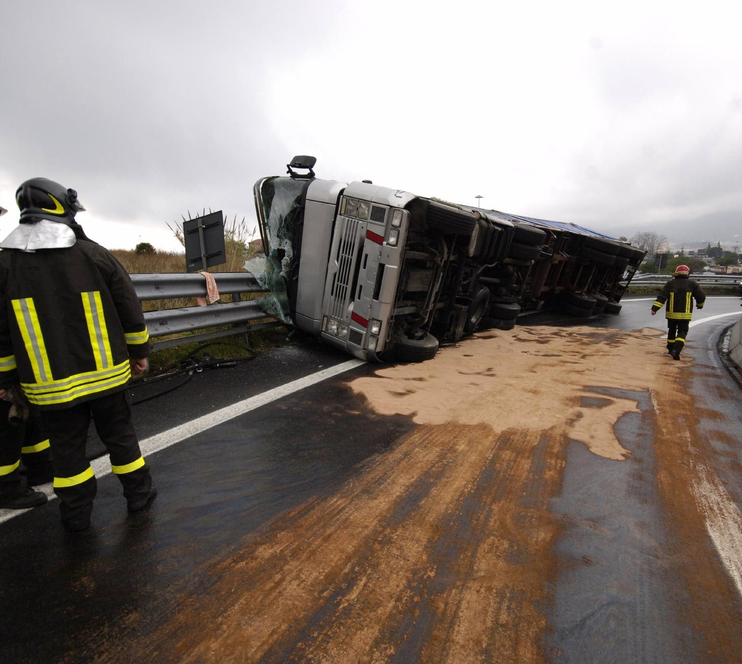 Overturned 18-wheeler Truck Stock Photo