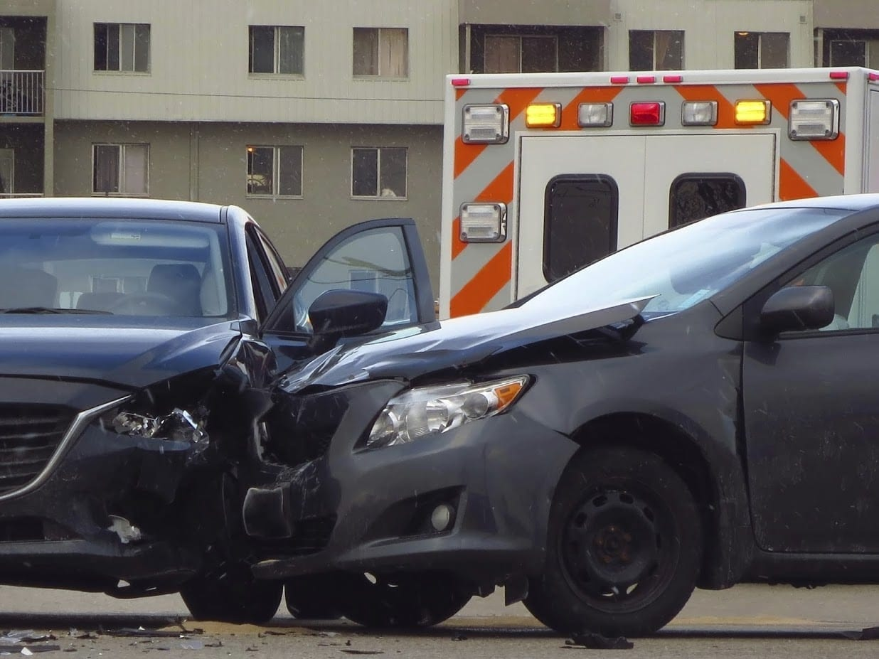 Auto Accident On A City Street Stock Photo