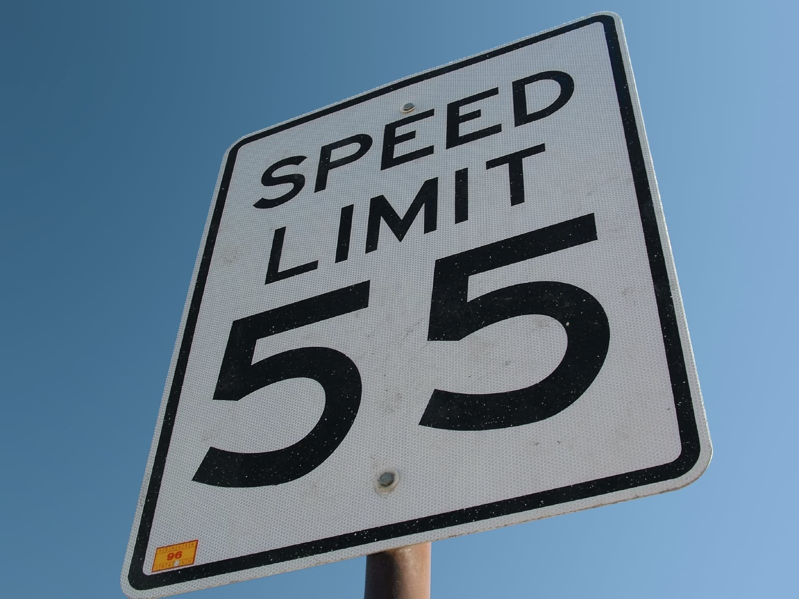 Speed Limit 55 MPH Stock Photo