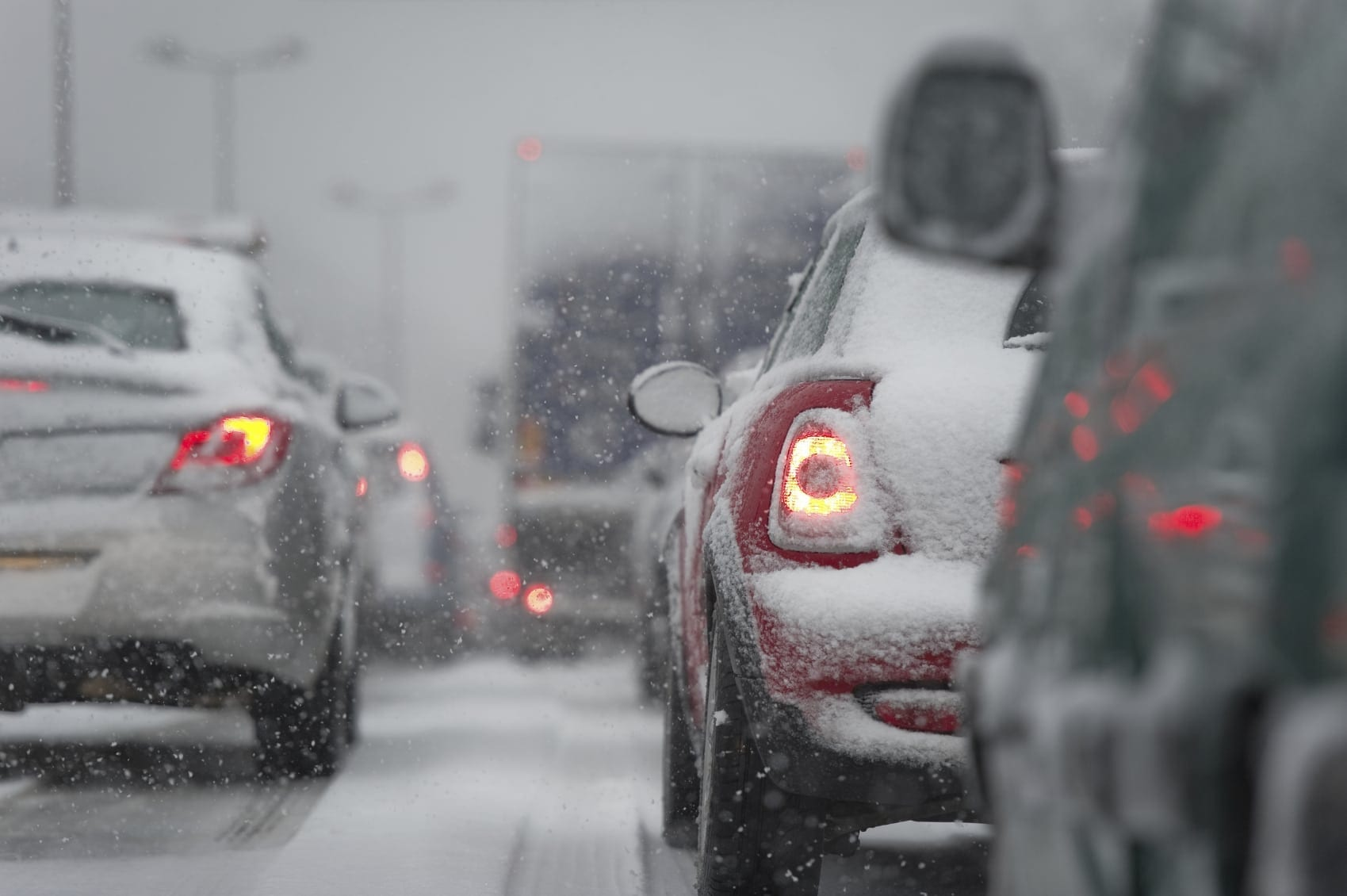 Traffic Jam On A Snowy Highway Stock Photo