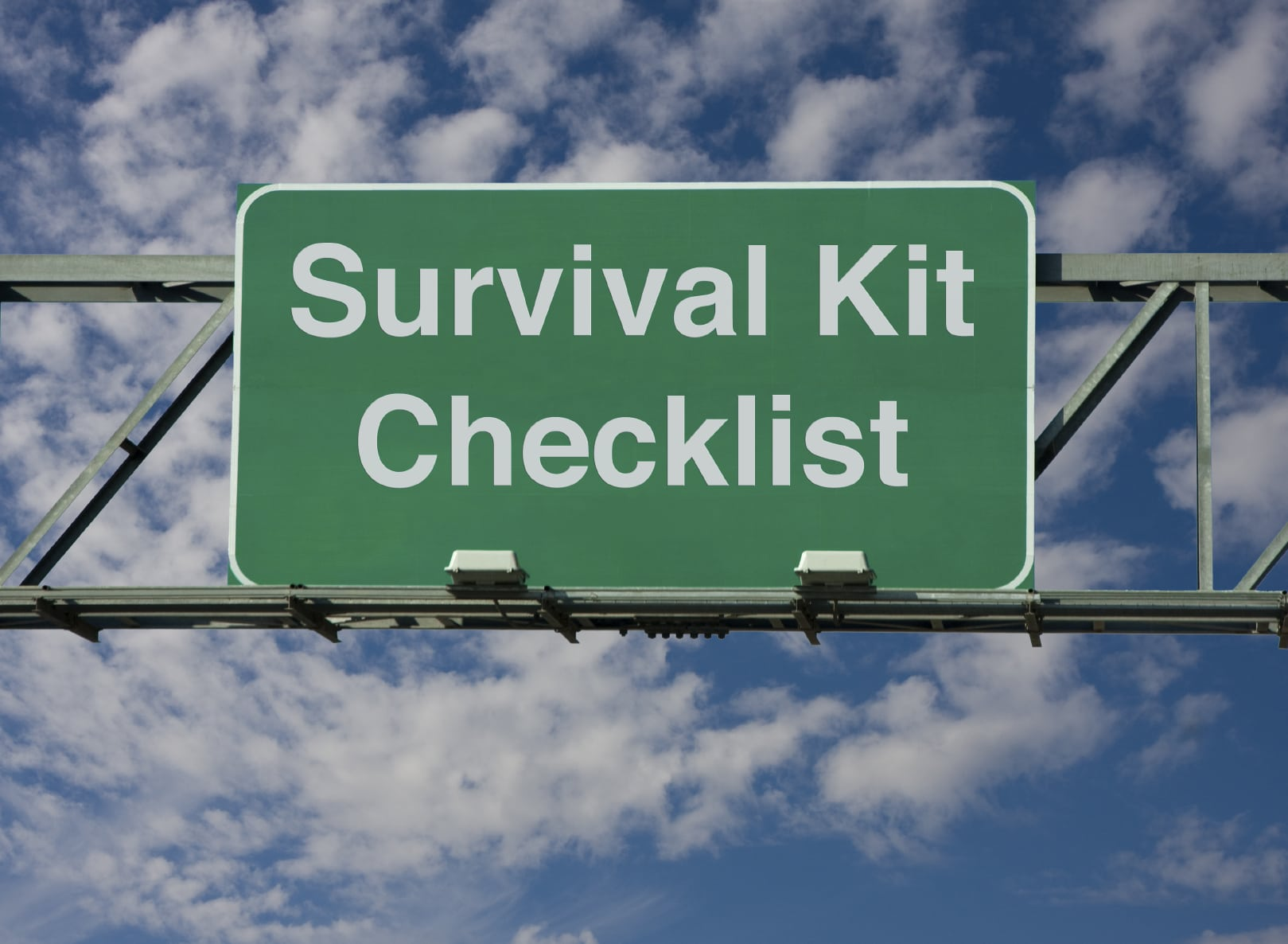 Survival Kit Checklist Stock Photo