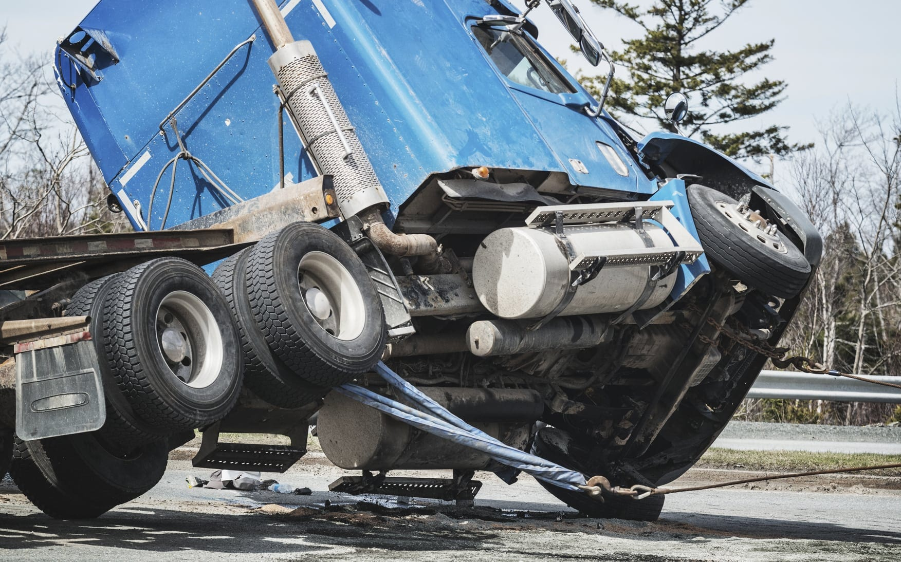 Semi-truck Being Towed Away After A Truck Accident Stock Photo