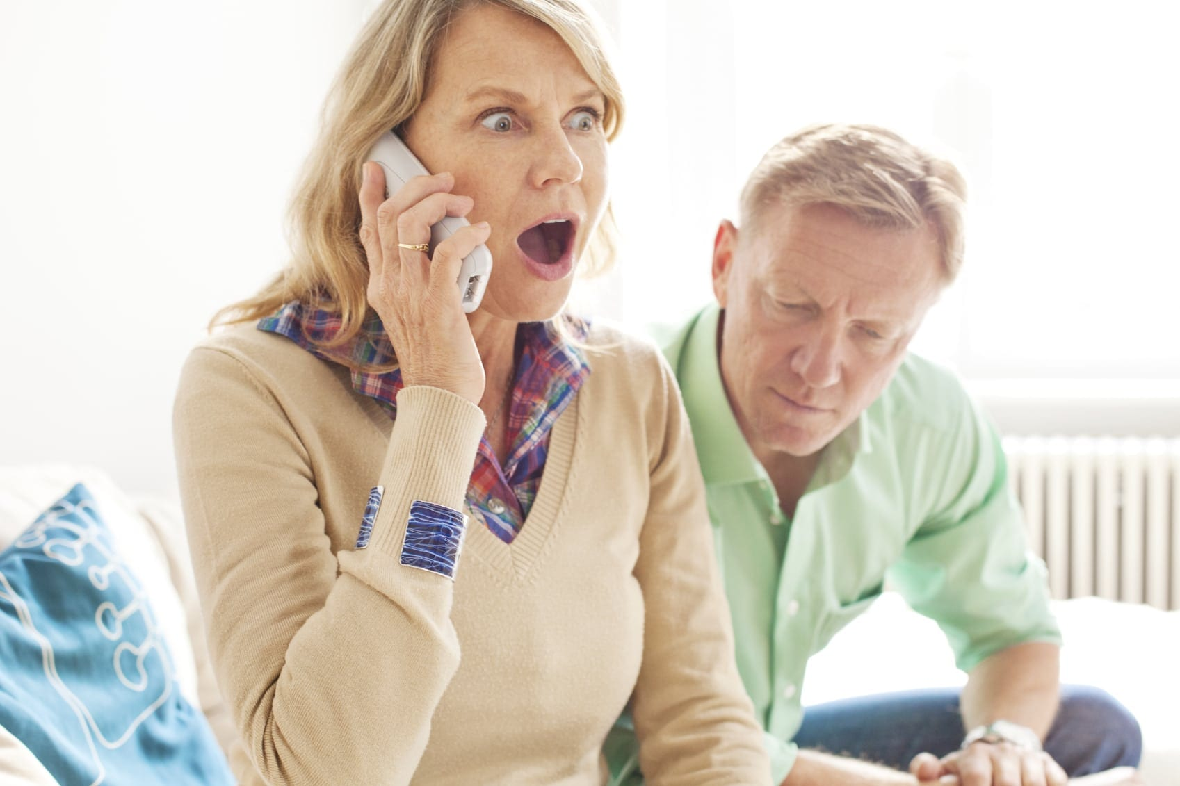 Woman With Shocked Look On Her Face Stock Photo