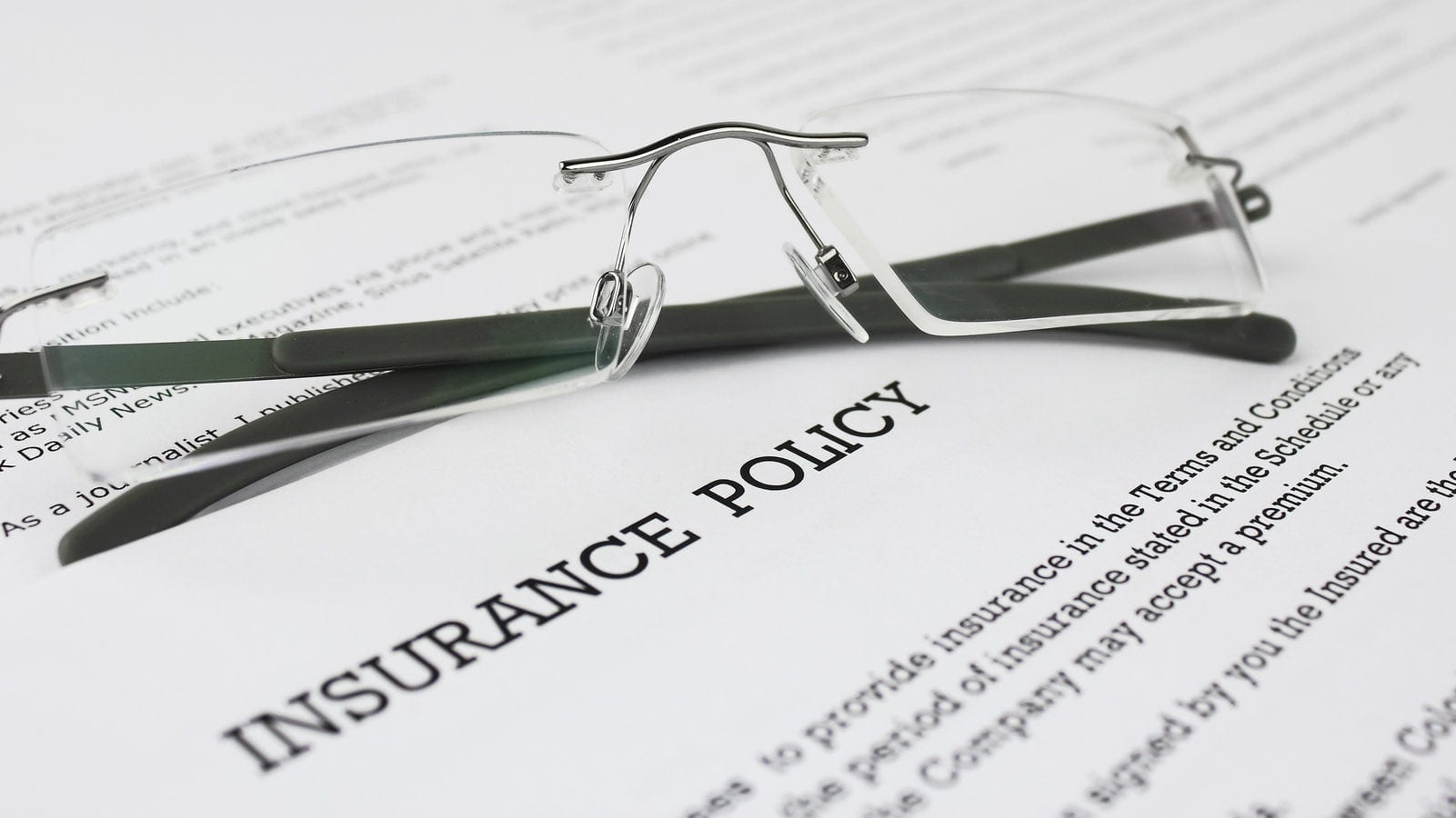 Insurance Policy Document Stock Photo