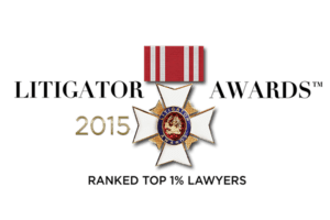 2015 Litigator Awards Ranked Top One Percent Of Lawyers Logo