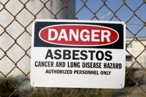 Danger Asbestos Sign Stock Photo