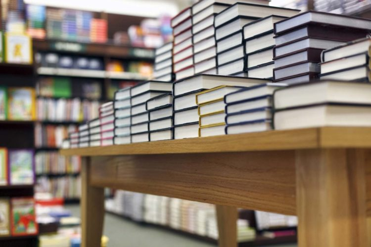 Stack Of Books At A Bookstore Stock Photo