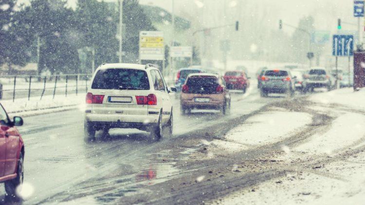 Traffic Jam With Snow Flurries Stock Photo