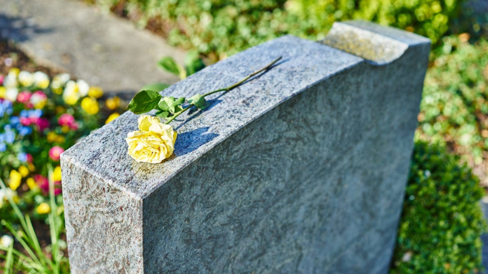 Headstone With Yellow Rose Stock Photo