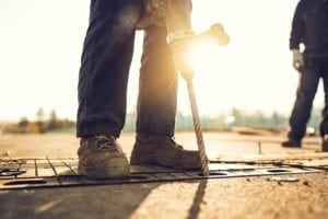 Industrial Worker Working Outdoors Stock Photo