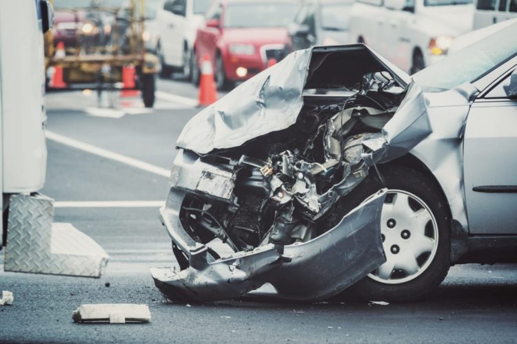 Car Accident With Severe Front End Damage Stock Photo