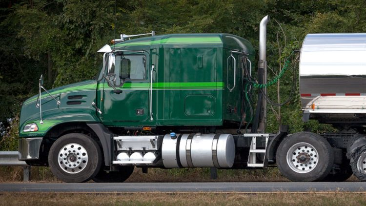 Green 18-wheeler Truck Stock Photo