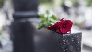 Red Rose On Gravestone Stock Photo