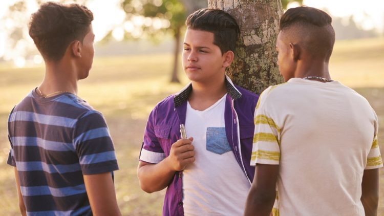 Group Of Teens Using E-cigarettes In Park Stock Photo
