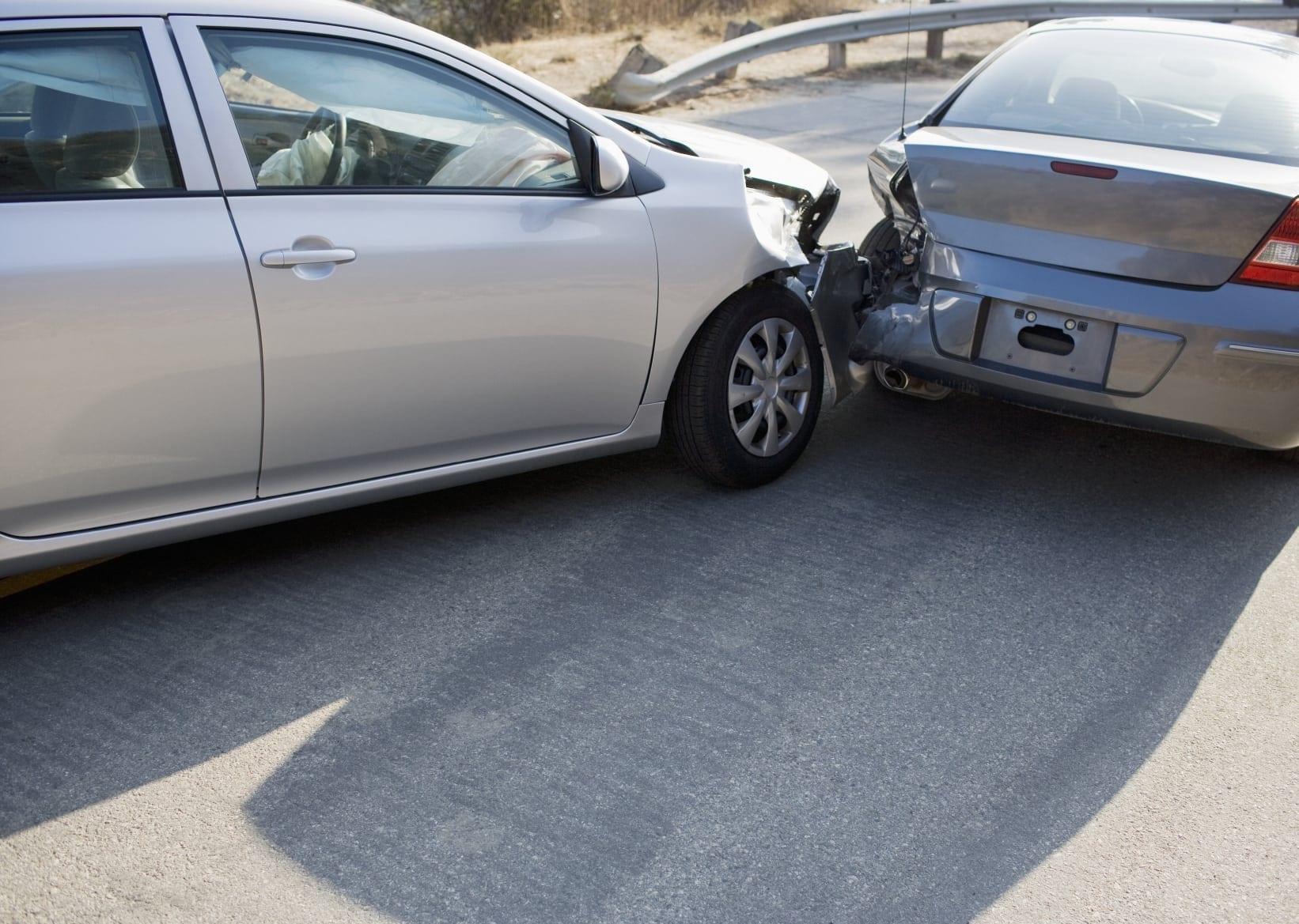 Rear End Car Accident On Rural Highway Stock Photo