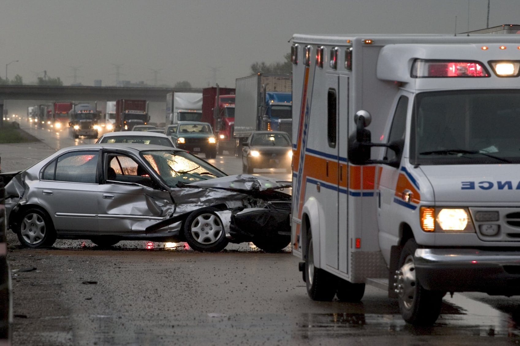 Car Accident In The Rain Stock Photo