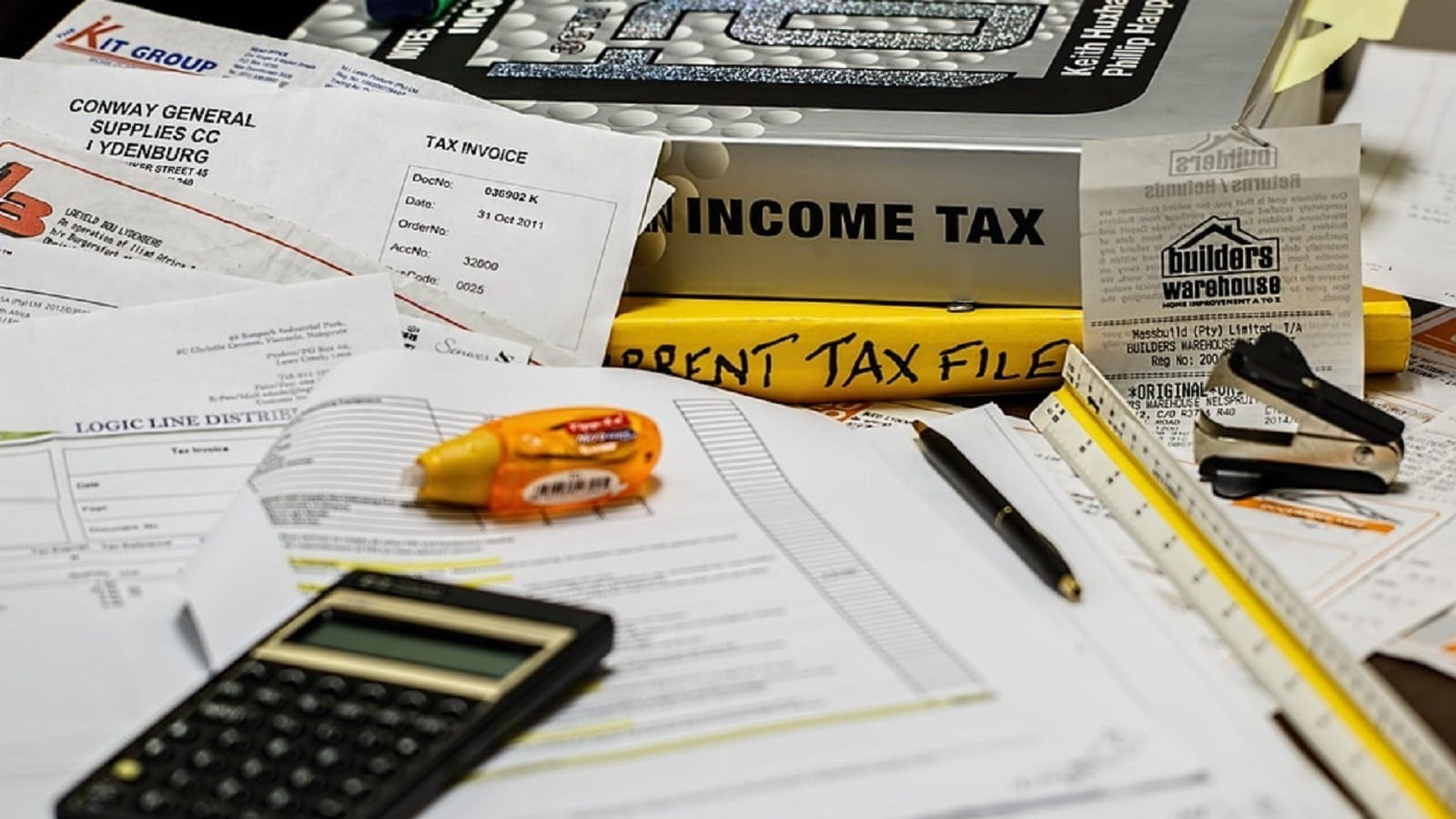 Income Tax Documents Stock Photo