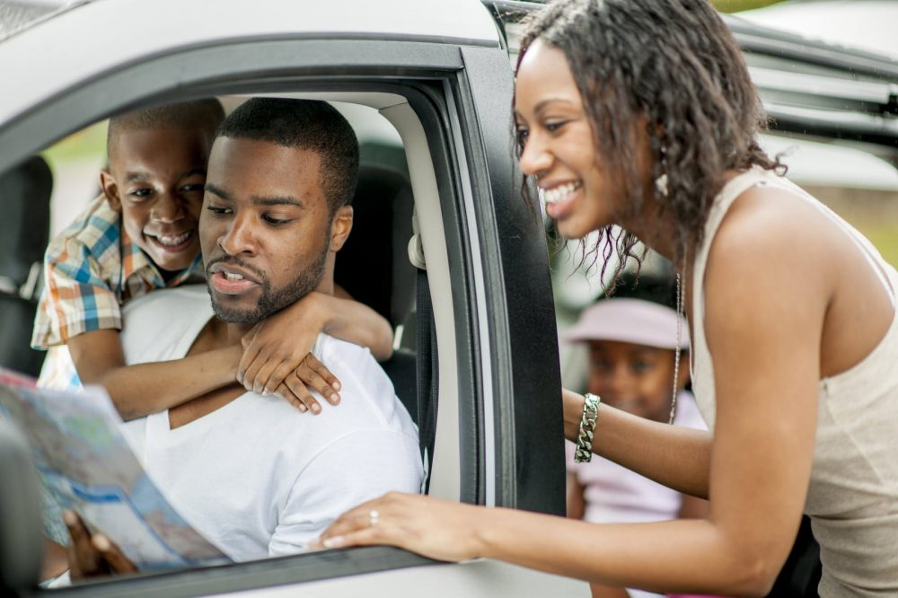 Young Family Taking A Road Trip Together Stock Photo