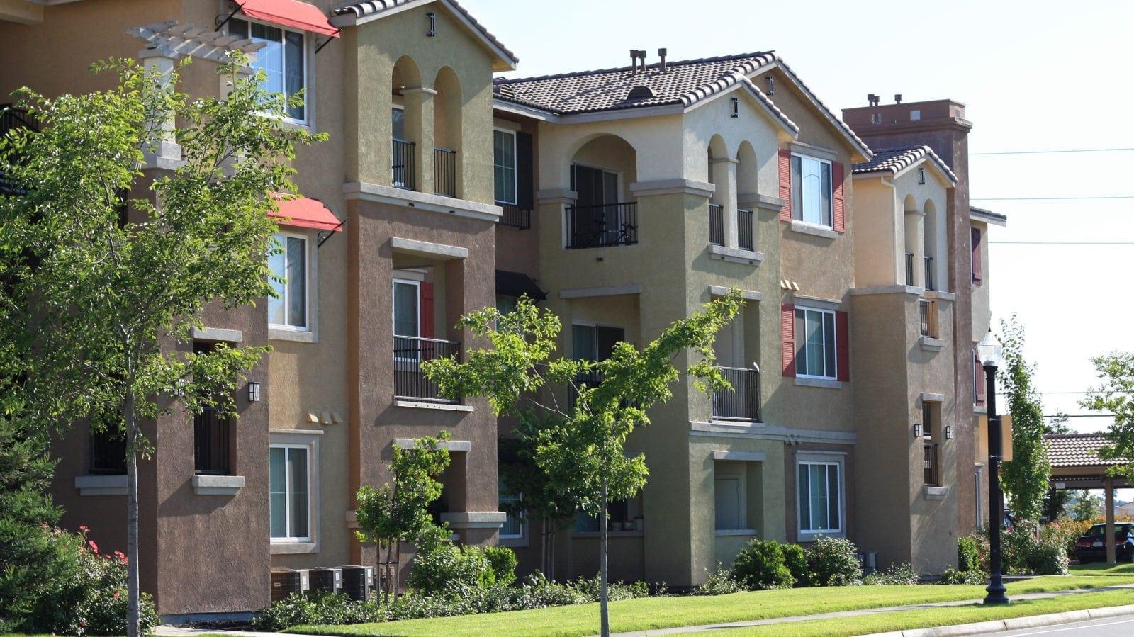 Apartment Complex Exterior Stock Photo