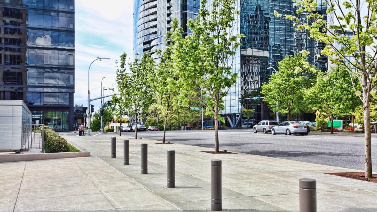 Empty City Sidewalk Stock Photo