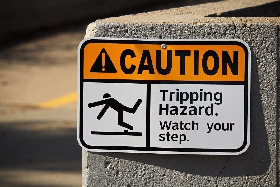 Caution: Tripping Hazard Stock Photo