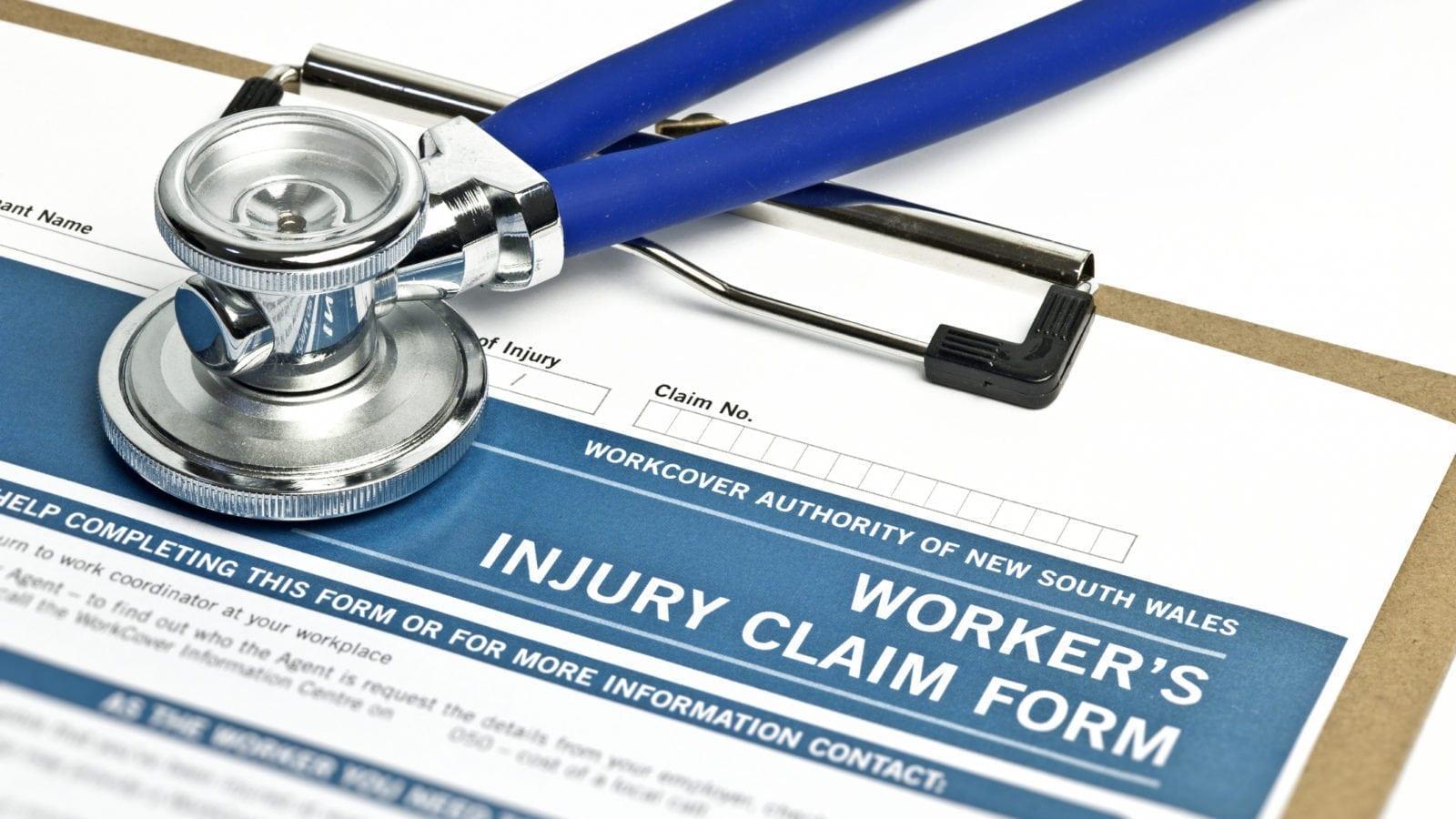 Worker's Injury Claim Form Stock Photo
