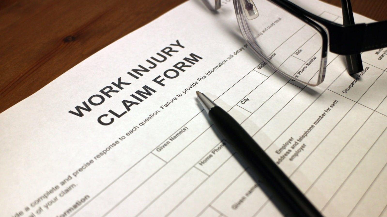 Blank Work Injury Claim Form Stock Photo