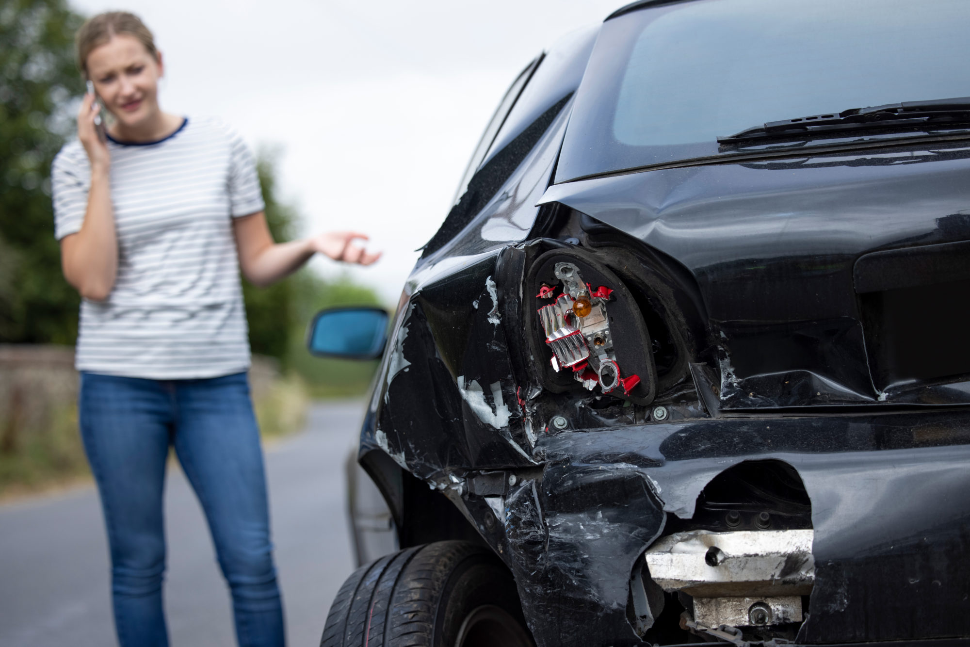 woman calling a car accident attorney after an accident in Indianapolis