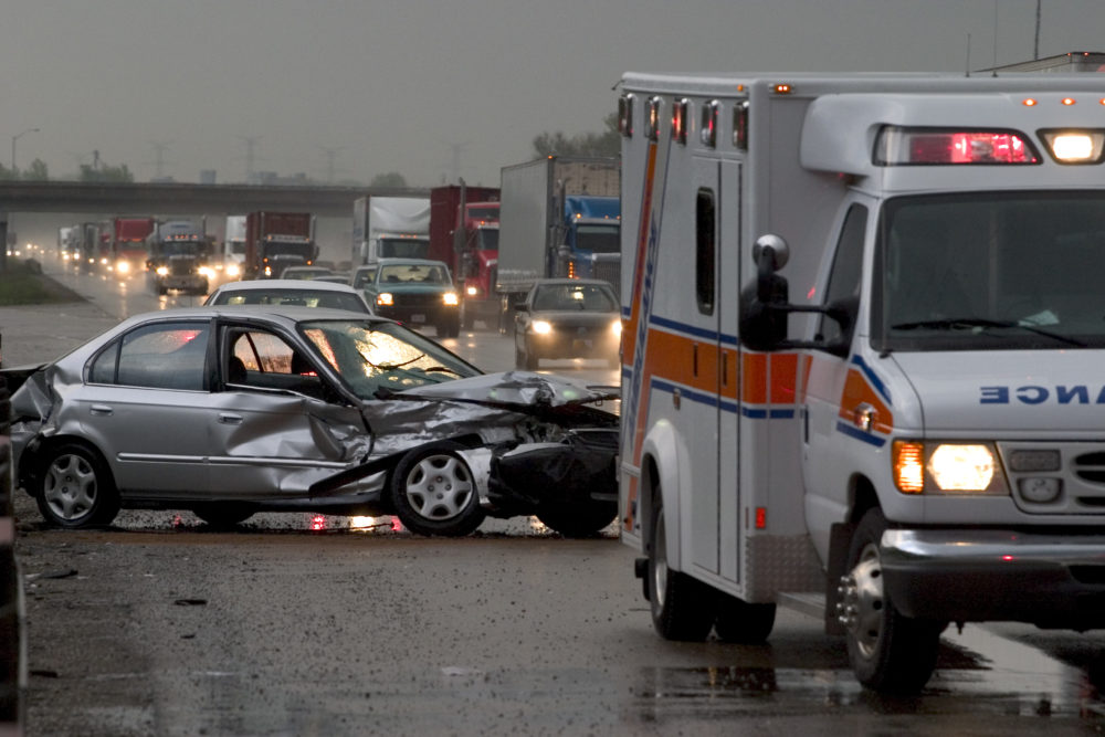 the scene of a car crash in Indianapolis