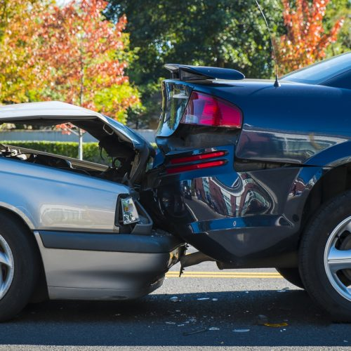 Two cars after a rear-end accident on the street in Indianapolis.